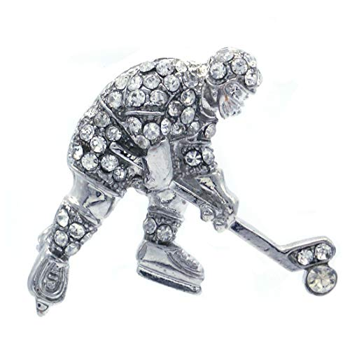 Soulbreezecollection Ice Hockey Puck Winter Sport Pin Brooch Clear Stone Rhinestone Sports Jewelry -