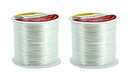 Mandala Crafts Jewelry Making Bracelet Elastic Cord String, 2 Rolls, 200 Meters, 218 Yards (White)