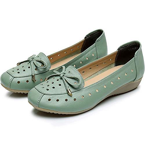 FLYRCX Las Sandalias Planas Respirables cómodas de Cuero Suaves Inferiores Huecos de Cuero Calzan los Zapatos de Trabajo de Las señoras, 34 UE 39 EU