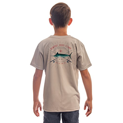 SAND.SALT.SURF.SUN. Marlin Rods Florida Youth UPF 50+ Sun Protection Short Sleeve T-Shirt Medium Athletic Grey