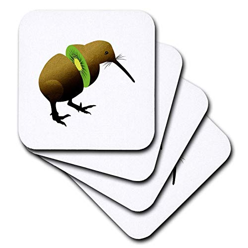 3dRose Russ Billington Designs - Funny Kiwi Fruit Design - set of 4 Ceramic Tile Coasters (cst_291549_3) ()