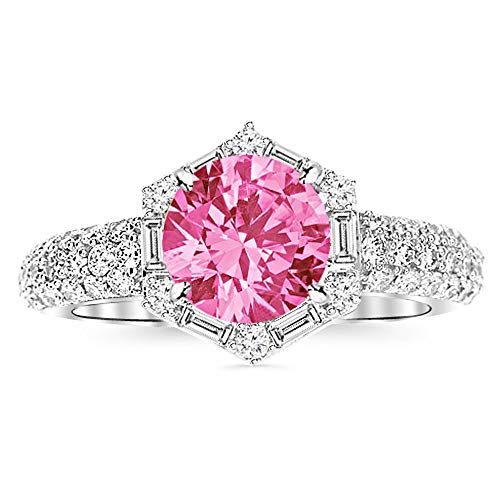 (1 Carat 14K White Gold Hexagonal Contemporary Halo Round And Baguette Pink Sapphire Diamond Engagement Ring)