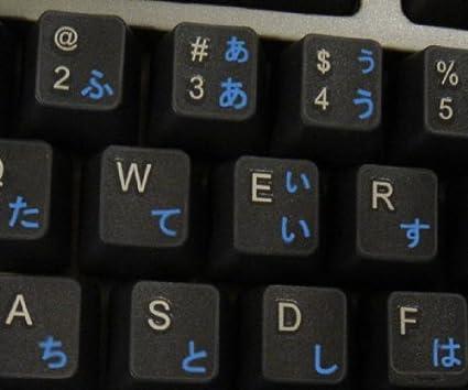 Qwerty Keys Pegatinas Teclado Japonés Transparente con Letras Azules - Apto para Cualquier Ordenador o portátil Teclado