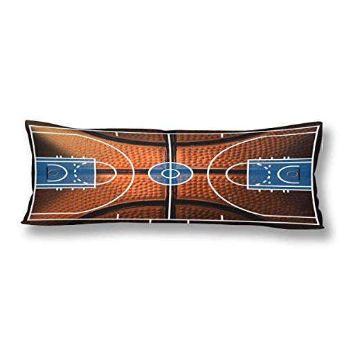 ALovjp Sports Basketball Court Boy's Playtime Basketball Body Pillow Covers Case Protector Rectangle with Zipper Twin Sides for Sofa Decorative 20x30 inch