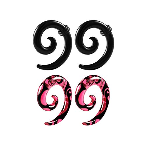 BIG GAUGES 2 Pairs Acrylic Coil 4gauges 5mm Spiral Taper Expander Piercing Stretching Ear Black and Pink Earring O-Rings Plugs BG6220