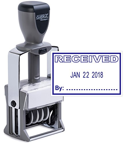 Heavy Duty Date Stamp with RECEIVED Self Inking Stamp - BLUE INK)