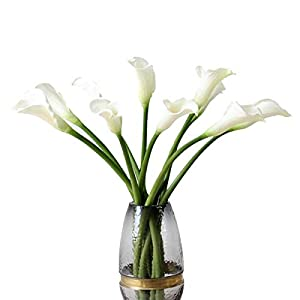 """5pcs Artificial Flowers 21"""" PU Mini Calla Lily Bridal Wedding Bouquet Head Latex Real Touch Flower Bouquets (White) 25"""