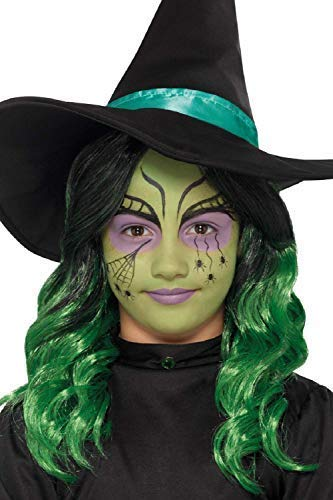 Girls Green Witch Halloween Make Up with Glitter Brush Applicators Face Paint Fancy Dress Costume Outfit ()