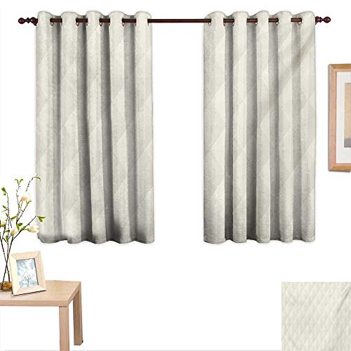- Ivory Decorative Curtains for Living Room Geometric Diamond Triangle Mix Formed Soft Pastel Toned Minimalist Artful Design 55