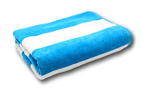 Lara Cabana 100% Turkish Cotton Beach Towel Pool Spa Bath by Corner4Shop (Blue/White Striped)