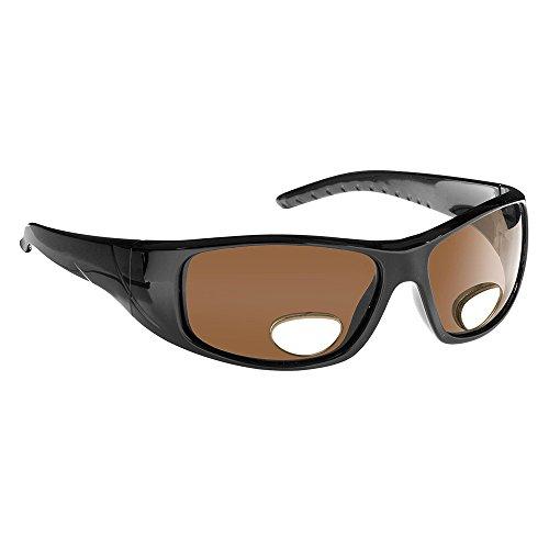 Fisherman Eyewear-Polar View-Black Frame-Brown Polarized Lens-Bifocal +3.00