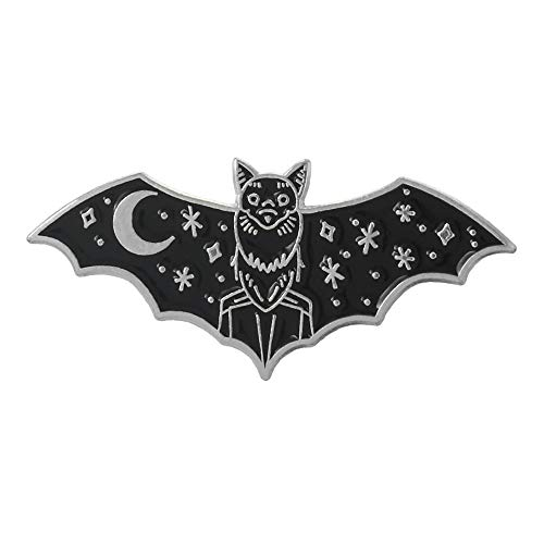 Halloween Enamel Bat Vampire Animal Crescent Moon and Stars Pin Hat Backpack Coat Lapel Pin Witch Spooky Jewelry (Silver)