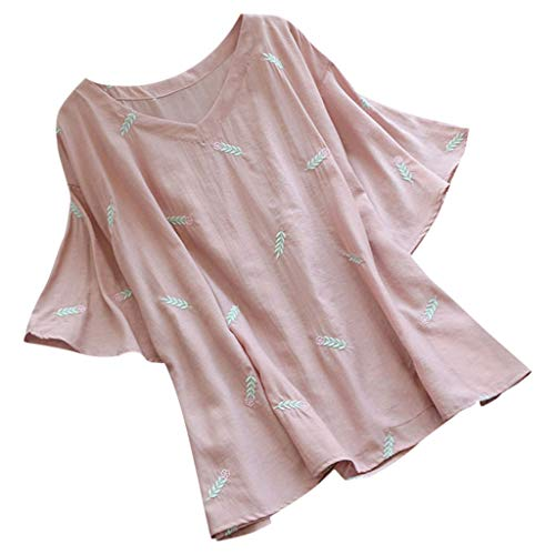 (GHrcvdhw Stylish Women Casual Loose Cotton and Linen Blouse V-Neck Short Sleeve Feather Embroidery T-Shirt Tops Pink)