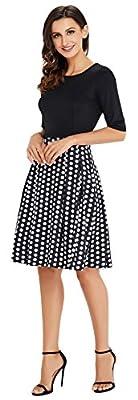 CoolEnding Womens Vintage Wear To Work Half Sleeve Empire Waist Pockets Cocktail Dresses