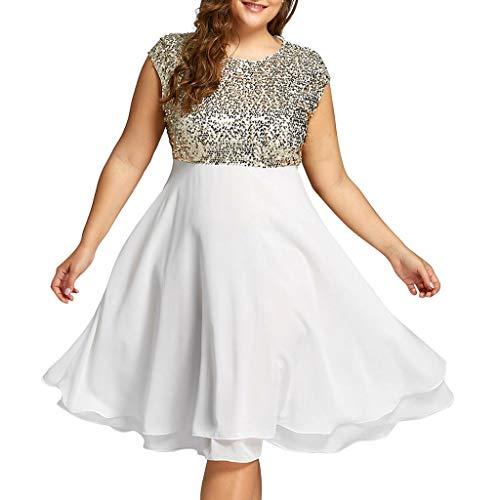 Benficial Fashion Women Plus Size O-Neck Solid Sleeveless Zipper Chiffon Sequined Dress White ()