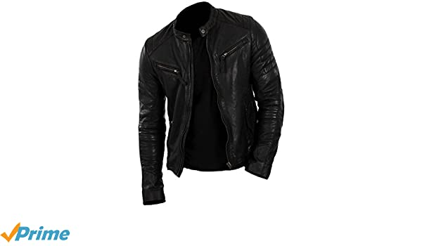 SleekHides Mens Fashion Real Leather Biker Jacket at Amazon Mens Clothing store: