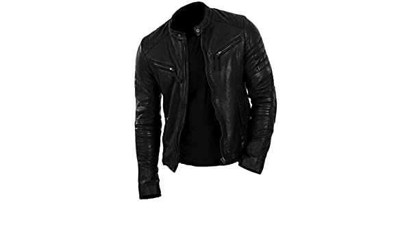 Classyak Mens Motorcycle Fashion Real Leather Jacket at Amazon Mens Clothing store: