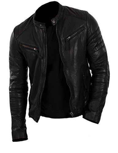 Classyak Men's Motorcycle Fashion Real Leather Jacket Cow Black Large
