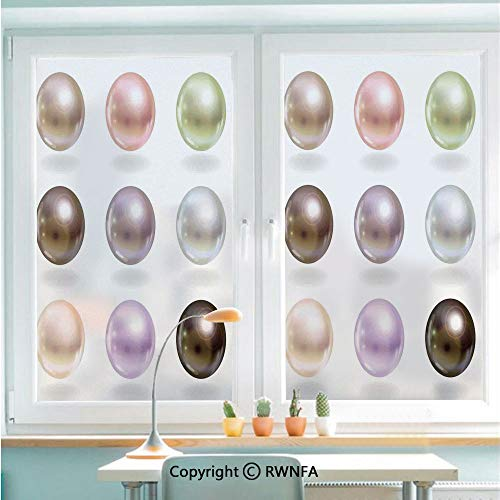 Non-Adhesive Privacy Window Film Door Sticker Graphic Round and Smooth Shapes Pastel Color Treasures of Sea Bridal Inspired Design Glass Film 22.8 in by 35.4in(58cm by 90cm),Multi