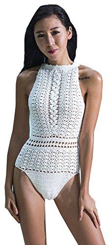 36' Cut Set - Bellady Women's One Piece Swimsuit Cotton Crochet Bikini Set Beachwear,White,M