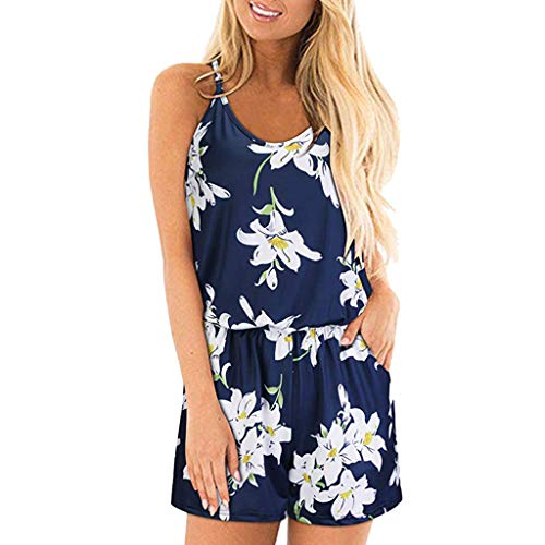- Sunhusing Women's Sleeveless Off Shoulder Spaghetti Strap Print Jumpsuit Drawstring Lace-Up Shorts Romper White