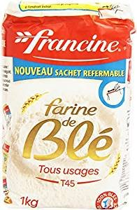 Francine Farine de Ble Tous Usages - French All Purpose Wheat Flour - 2.2 lbs (10 Pack)