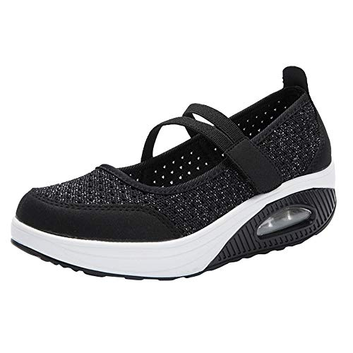 Bottom Course À Mesh Cushion De Air Alikeey Shoes Noir Chaussures Bascule Femme Antidérapantes Plate qPZxwSYtI