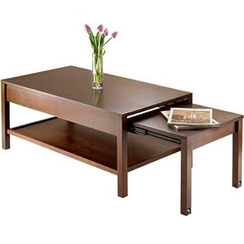 Amazoncom Brandon Expandable Coffee Table Antique Walnut Kitchen