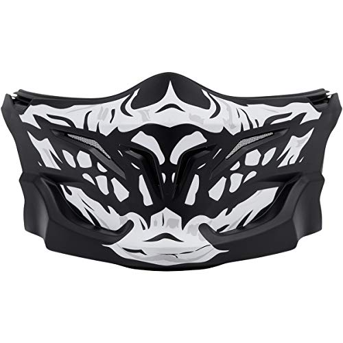 Graphic Face Motorcycle Mask (Scorpion Adult Covert Skull Face Mask,One Size,Black/White)