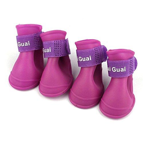 (Hisoul Dog Rain Boots, Set of 4 Portable Candy Color Rubber Waterproof Anti-Slip Rain Shoes Booties for Pet Dog (Purple, M-Paws:)