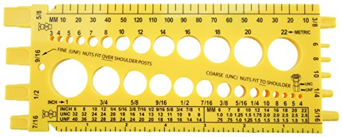 Nut and Bolt Gauge , Metric, UNC, UNF, with Thread Pitch on Back(5 Colors to Choose From in Listing) (YELLOW)