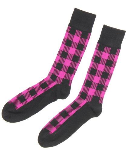 Alfani Spectrum Men's Buffalo Plaid Socks, Single Pack (10-13, Boldberry) (Alfani Single)