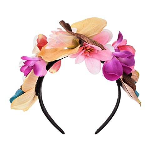 Love Sweety Frida Kahlo Flower Crown Mexican Featival Headband Day of The Dead Headpiece (Khaki)]()