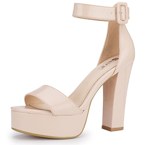 IDIFU Women's IN5 Sabrina Ankle Strap Platform High Chunky Heels Party Sandal (Nude Patent, 7 B(M) US)
