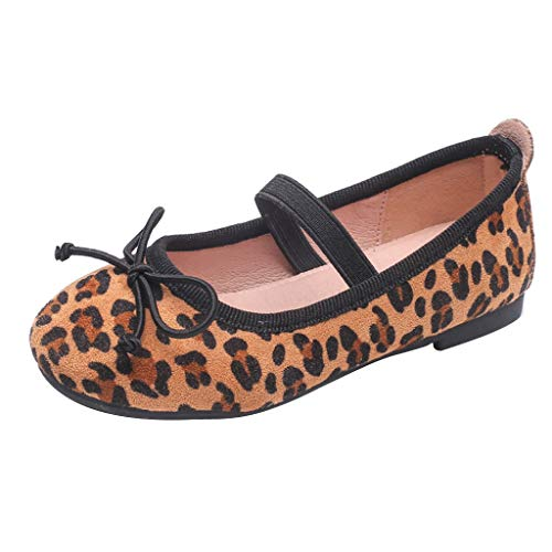 (Randolly Baby Shoes ⭐⭐ Autumn Children's Princess Leopard Print Shoes Casual Peas Elastic Band Shoes Brown)
