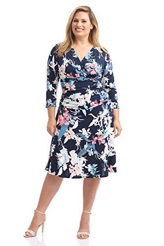 Rekucci Curvy Fit Plus Size Womens Slimming 3/4 Sleeve Tummy Control Dress