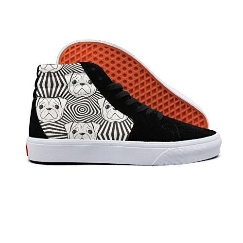 gxxiishow Love Cute Bulldog Hug Me Canvas Men Shoes Sneaker High Top Lace Up (Best Mini Labradoodle Breeders)