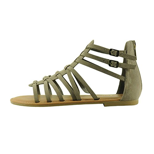 Bamboo Seashore 84V Womens Zip Up Strappy Gladiator Sandals Taupe E6htu
