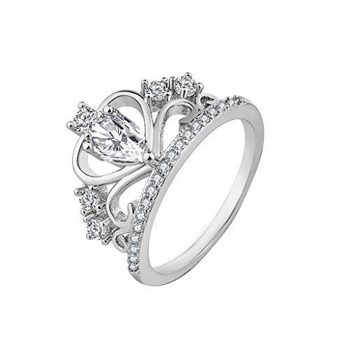- Women Simple Platinum Boutique Ring Fashion Crown Zircon Ring Ring Under 5 Dollars Valentine's Day Gifts for Girlfriend Boyfriend (US Size)