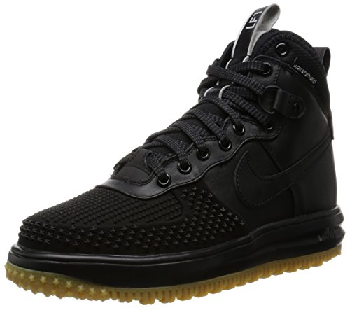 Nike Mens Lunar Force 1 Duckboot Black/Black/Metallic Silver/An Boot 9 Men US