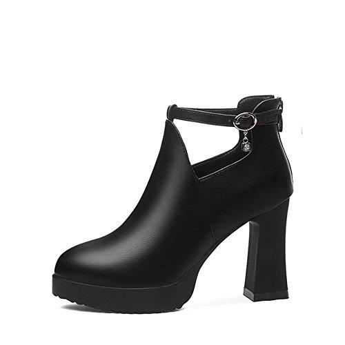 Zapatos de Mujer Zapatos de Tacón Alto Primavera Verano Otoño Artificial PU Zapatos de Tacón Alto de Cuero Zapatos de Tacón Grueso de Cuero Zapatos de Cuero de Mujer (Color : Negro, Tamaño : 38) Negro