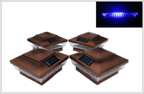 12-Pack Solar Copper Finish Post Deck Fence Cap Lights for 4″ X 4″ Post With BLUE LEDs and Vertical-lined Clear Lens For Sale