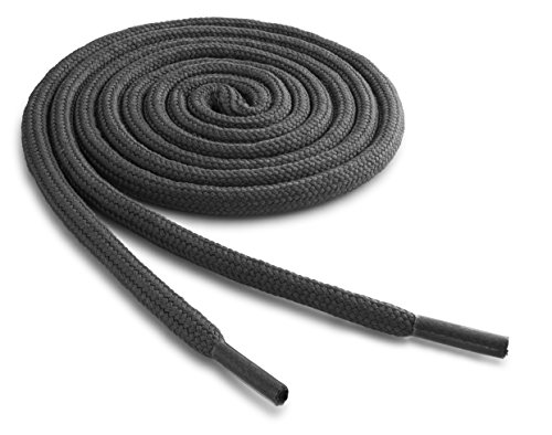 OrthoStep Thick Round Athletic 45 inch Dark Grey Shoe laces - Thick Shoe and Hiking Boot Laces 2 Pair Pack