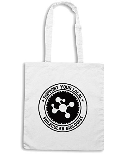 T-Shirtshock - Bolsa para la compra OLDENG00260 support molecular biologist Blanco