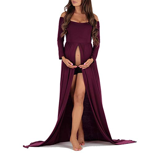 Off Shoulder Maternity Gown for Photo Shoots Wine