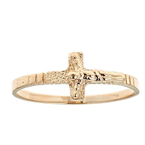 Ritastephens 14k Solid Yellow Gold Small Sideways Cross Crucifix Girls Ring Size 3