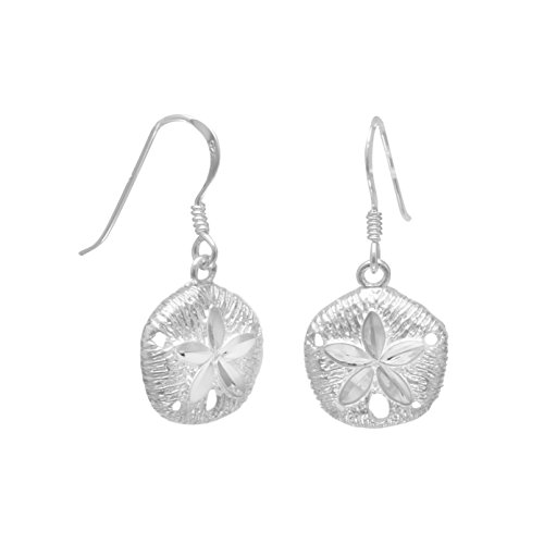 Diamond Cut Sterling Silver French Wire Earrings, 1/2 inch, Sand Dollar