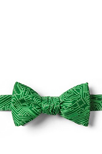 The Circuit Board Green Microfiber Butterfly Bow Tie