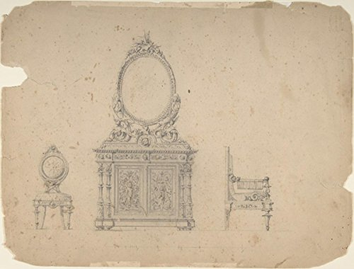 historic pictoric Drawing | Anonymous, Italian, 19th Century | Designs for Furniture 1 | Antique Vintage Fine Art Reproduction 20in x 16in ()