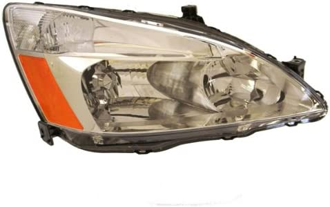 HEADLIGHTSDEPOT Chrome Housing Halogen Headlights Compatible With Honda Accord 2003-2007 Sedan And Coupe Includes Left Driver and Right Passenger Side Headlamps